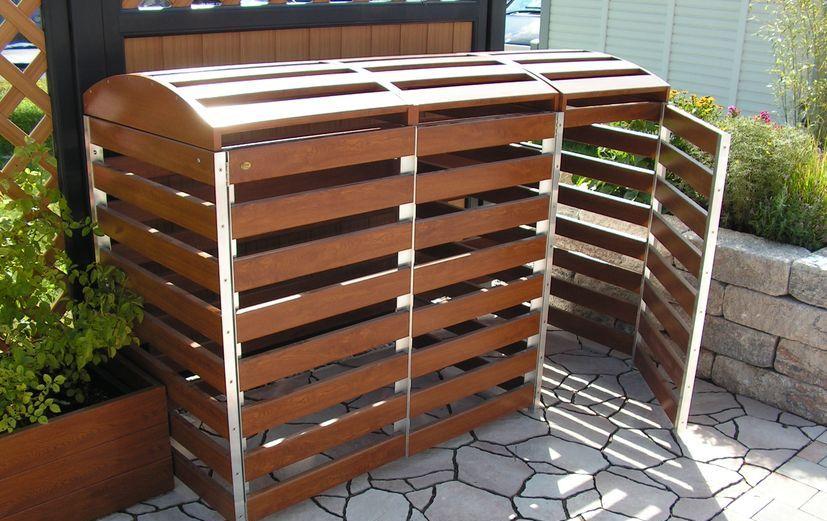 Große Mülltonnenbox aus PVC-Kunststoff in Golden-Oak